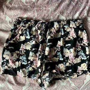 Black w Pink floral elastic shorts size large